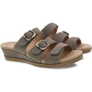 Dansko Allyson Stone Textured Nubuck Leather Slip On Double Buckle Slide Sandals